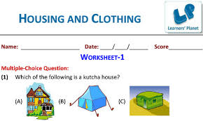 housing and clothing science worksheets and printable for third