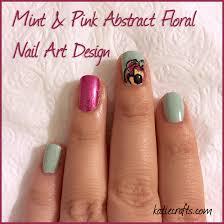 mint u0026 pink abstract floral nail art design u2022 katie crafts