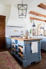 bar kitchen island brass towel bar on blue kitchen island transitional kitchen