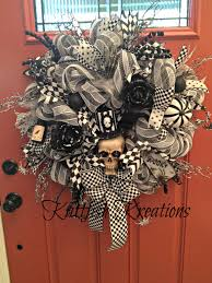 skeleton deco mesh wreath with flashing eyes custom order