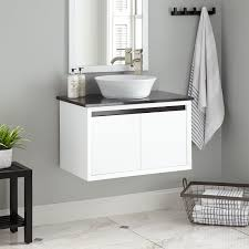 wall mount glass sink wall hanging bathroom storage 600mm sink vanity unit floating