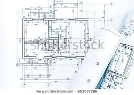 architect plans rolls architecture blueprints house plans stock photo 131734826