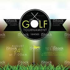 elegant golf tournament invitation design template on bokeh stock