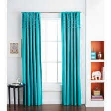 solid with pom poms curtain panel turquoise 50x84