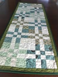 sage green table runner patchwork quilted green cream table runner sage green table