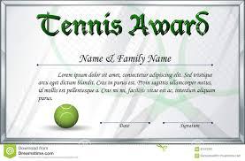 Prize Certificate Template Certificate Template For Tennis Award Stock Vector Image 87475261