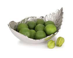 decorative fruit bowl metal curl leaf bowl