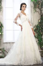 wedding dresses with sleeves uk a line chapel v neck 3 4 length sleeve none wedding dress