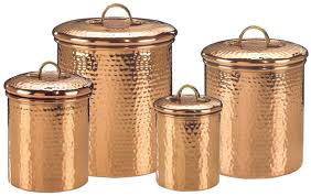 kitchen canister set hammered copper coffee tea sugar storage jar