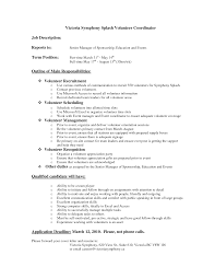 Victoria Jobs Resume by Best Photos Of Volunteer Job Descriptions For Resume Volunteer