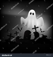 scary halloween ghost flying on grave stock vector illustration