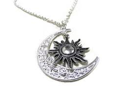 silver moon and sun necklace crescent moon necklace