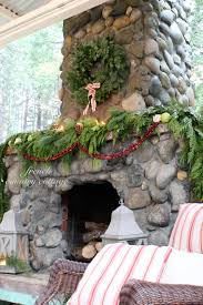 Outdoor Chimney Fireplace by Outdoor Rock Fireplace Dressed For Christmas French Country Cottage