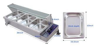 3 pan bain marie food warmer steam table stainless steel 1500w