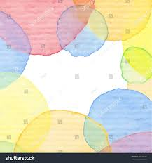 vintage yellow color hand painted watercolor frame colorful circles stock vector
