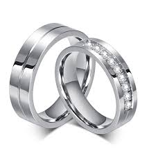 steel promise rings images Stainless steel cz matching couple rings 2pc set promise rings jpg