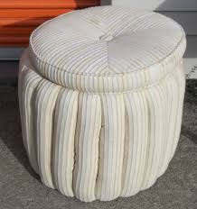 Round Cocktail Ottoman Upholstered by Furniture Red Velvet Storage Ottoman Which Is Having Rounded