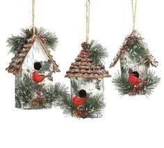 birch bark birdhouse ornament with plaid ribbon and