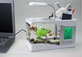 aquarium bureau acheter livraison gratuite mini usb lcd de bureau noir fish tank