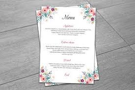 Wedding Menu Template Wedding Menu Template Stationery Templates Creative Market