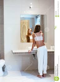 Bathroom Teen Pre Teen In The Hotel Bathroom Stock Photo Image 84600896