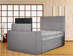 Headboard Wall Unit Living Imagechic Tvbed Executivesilvermist Sd Terrific Bedroom
