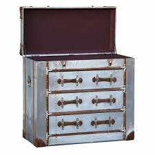 london industrial aluminium silver metal storage chest of 3 drawers
