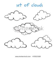 seamless pattern sketch clouds on white stock vector 187976984