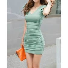 bodycon dress casual solid color v neck sleeveless bodycon dress for women