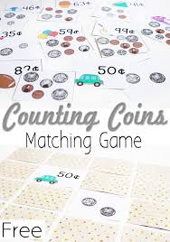 free printable money matching game counting coins counting