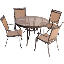 Round Patio Furniture Set by Hanover Fontana 5 Piece Aluminum Round Outdoor Dining Set With