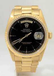 rolex black friday mens rolex 18k yellow gold president day date black dial watch