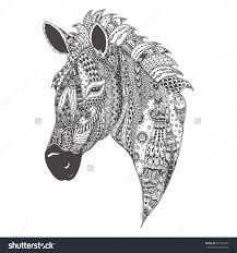 stock vector zebra hand drawn zebra with ethnic floral doodle