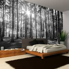 Forest Mural by Rainbow Black White Woodland Forest Mural Photo Giant Wall Decor R223