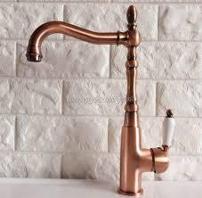 red brass antique copper kitchen sink swivel spout faucet mixer