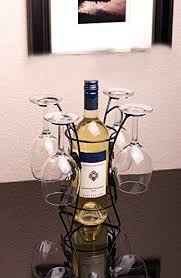 ideas in life metal wine bottle u0026 glass holder 4 long stem glasses