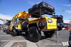 jeep offroad trailer 2017 sema innovative creations yellow jeep jk wrangler unlimited