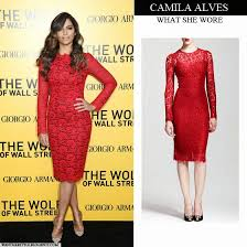 what she wore camila alves in red lace long sleeve dress in new