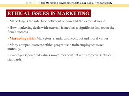 ethical issues in marketing chapter objectives the marketing environment ethics and social