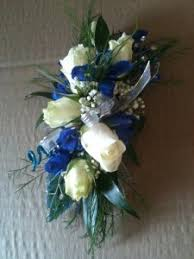 wrist corsage fresh blue white mix in carmel in love at first