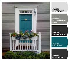 Exterior Door Color Combinations Teal Front Door Use Gray Shutters On The Brick House Lovely
