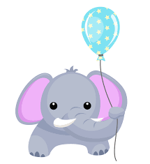 free elephant with balloon design perfect for birthday cards