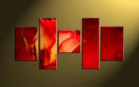 Home Decor Flower 5 Piece Red Flower Multi Panel Canvas