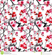 seamless tree pattern japanese cherry blossom royalty free stock