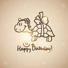 birthday card with cartoon turtle and bow stock photo picture and