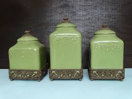 ceramic canister set storage jars portfolio oto china green brown