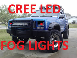 jeep cherokee lights jeep cherokee xj cree led fog lights and bumper plastics youtube