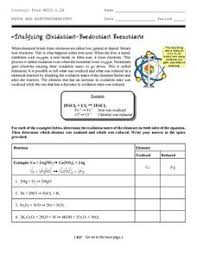 analyzing oxidation reduction reactions 9th 12th grade worksheet