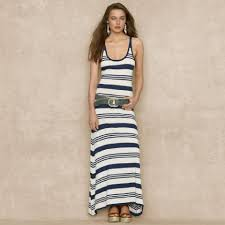 light blue and white striped maxi dress ralph lauren blue label striped heather cream grab long casual