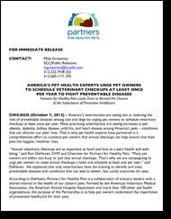 partners for healthy pets pet owner campaign press releases